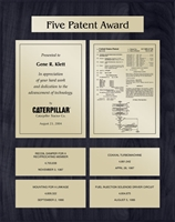 Patent Plaques Custom Wall Hanging 5-Series Patent Plaque - Gold on Black.