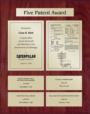 Patent Plaques Custom Wall Hanging 5-Series Patent Plaque - Gold on Cherry.
