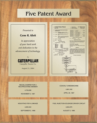 Patent Plaques Custom Wall Hanging 5-Series Patent Plaque - Gold on Oak.
