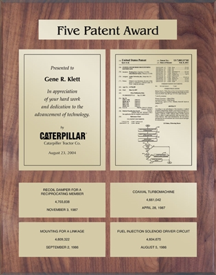 Patent Plaques Custom Wall Hanging 5-Series Patent Plaque - Gold on Walnut.