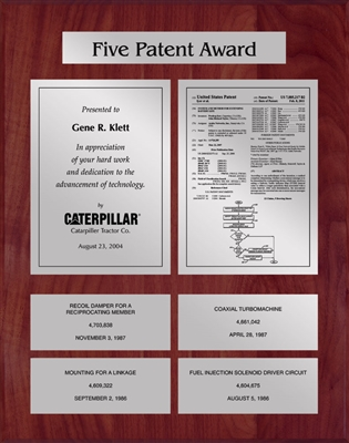 Patent Plaques Custom Wall Hanging 5-Series Patent Plaque - Silver on Cherry.