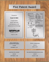 Patent Plaques Custom Wall Hanging 5-Series Patent Plaque - Silver on Oak.