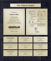 Patent Plaques Custom Wall Hanging 10-Series Patent Plaque - Gold on Black.