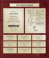 Patent Plaques Custom Wall Hanging 10-Series Patent Plaque - Gold on Cherry.