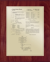 "Patent Plaques Custom Wall Hanging Traditional Patent Plaque - 8"" x 10"" Gold and Cherry."
