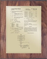 "Patent Plaques Custom Wall Hanging Traditional Patent Plaque - 8"" x 10"" Gold and Walnut."