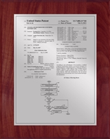 "Patent Plaques Custom Wall Hanging Traditional Patent Plaque - 8"" x 10"" Silver and Cherry."