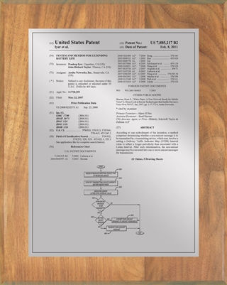 "Patent Plaques Custom Wall Hanging Traditional Patent Plaque - 8"" x 10"" Silver and Oak."