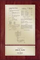 "Patent Plaques Custom Wall Hanging Traditional Patent Plaque - 8"" x 12"" Gold and Cherry."