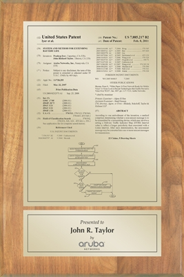 "Patent Plaques Custom Wall Hanging Traditional Patent Plaque - 8"" x 12"" Gold and Oak."