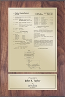 "Patent Plaques Custom Wall Hanging Traditional Patent Plaque - 8"" x 12"" Gold and Walnut."