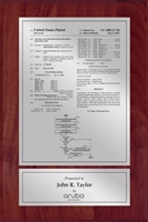 "Patent Plaques Custom Wall Hanging Traditional Patent Plaque - 8"" x 12"" Silver and Cherry."