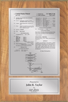 "Patent Plaques Custom Wall Hanging Traditional Patent Plaque - 8"" x 12"" Silver on Oak."