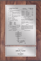 "Patent Plaques Custom Wall Hanging Traditional Patent Plaque - 8"" x 12"" Silver on Walnut."