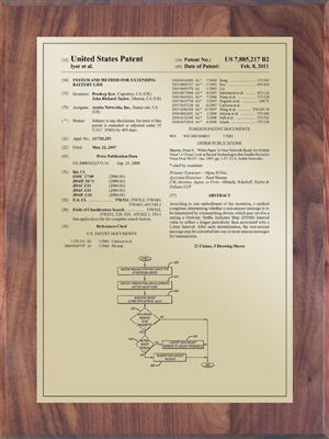 "Patent Plaques Custom Wall Hanging Traditional Patent Plaque - 9"" x 12"" Gold and Walnut."