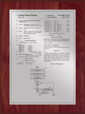 "Patent Plaques Custom Wall Hanging Traditional Patent Plaque - 9"" x 12"" Silver and Cherry."