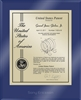 "Patent Plaques Custom Wall Hanging Ultramodern Contemporary Patent Plaque - 10.5"" x 13"" Gold and Blue Acrylic."