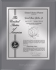 "Patent Plaques Custom Wall Hanging Ultramodern Contemporary Patent Plaque - 10.5"" x 13"" Silver and Translucent Grey Acrylic."