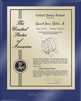 "Patent Plaques Custom Wall Hanging Ultramodern Contemporary Patent Plaque - 8"" x 10"" Gold and Blue Acrylic."