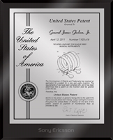 "Patent Plaques Custom Wall Hanging Ultramodern Contemporary Patent Plaque - 8"" x 10"" Silver and Black Acrylic."