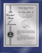 "Patent Plaques Custom Wall Hanging Ultramodern Contemporary Patent Plaque - 8"" x 10"" Silver and Blue Acrylic."