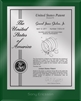 "Patent Plaques Custom Wall Hanging Ultramodern Contemporary Patent Plaque - 8"" x 10"" Silver and Green Acrylic."