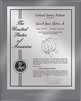 "Patent Plaques Custom Wall Hanging Ultramodern Contemporary Patent Plaque - 8"" x 10"" Silver and Translucent Grey Acrylic."