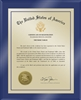 "Patent Plaques Custom Wall Hanging Ultramodern Traditional Trademark Plaque - 10.5"" x 13"" Gold and Blue Acrylic."