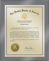"Patent Plaques Custom Wall Hanging Ultramodern Traditional Trademark Plaque - 10.5"" x 13"" Gold and Translucent Grey Acrylic."