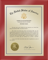 "Patent Plaques Custom Wall Hanging Ultramodern Traditional Trademark Plaque - 10.5"" x 13"" Gold and Red Acrylic."