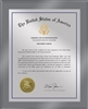"Patent Plaques Custom Wall Hanging Ultramodern Traditional Trademark Plaque - 10.5"" x 13"" Silver and Translucent Grey Acrylic."