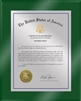 "Patent Plaques Custom Wall Hanging Ultramodern Traditional Trademark Plaque - 8"" x 10"" Silver and Green Acrylic."