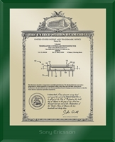 "Patent Plaques Custom Wall Hanging Ultramodern Vintage Patent Plaque - 10.5"" x 13"" Gold and Green Acrylic."