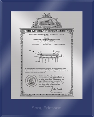 "Patent Plaques Custom Wall Hanging Ultramodern Vintage Patent Plaque - 10.5"" x 13"" Silver and Blue Acrylic."