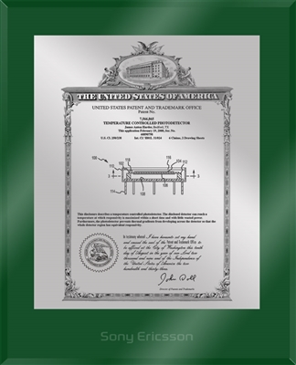 "Patent Plaques Custom Wall Hanging Ultramodern Vintage Patent Plaque - 10.5"" x 13"" Silver and Green Acrylic."