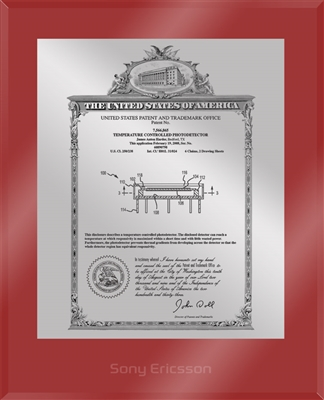 "Patent Plaques Custom Wall Hanging Ultramodern Vintage Patent Plaque - 10.5"" x 13"" Silver and Red Acrylic."