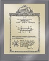 "Patent Plaques Custom Wall Hanging Ultramodern Vintage Patent Plaque - 8"" x 10"" Gold and Translucent Grey Acrylic."