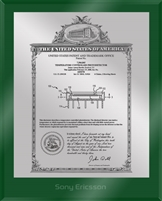 "Patent Plaques Custom Wall Hanging Ultramodern Vintage Patent Plaque - 8"" x 10"" Silver and Green Acrylic."