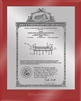 "Patent Plaques Custom Wall Hanging Ultramodern Vintage Patent Plaque - 8"" x 10"" Silver and Red Acrylic."
