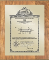 "Patent Plaques Custom Wall Hanging Vintage Patent Plaque - 10.5"" x 13"" Gold and Oak."
