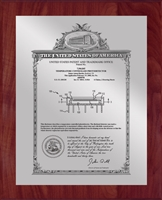 "Patent Plaques Custom Wall Hanging Vintage Patent Plaque - 10.5"" x 13"" Silver and Cherry."