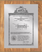 "Patent Plaques Custom Wall Hanging Vintage Patent Plaque - 10.5"" x 13"" Silver and Oak."