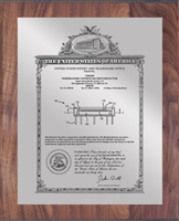 "Patent Plaques Custom Wall Hanging Vintage Patent Plaque - 10.5"" x 13"" Silver and Walnut."