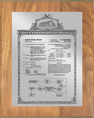 "Patent Plaques Custom Wall Hanging Vintage Patent Plaque - 8"" x 10"" Silver and Oak."