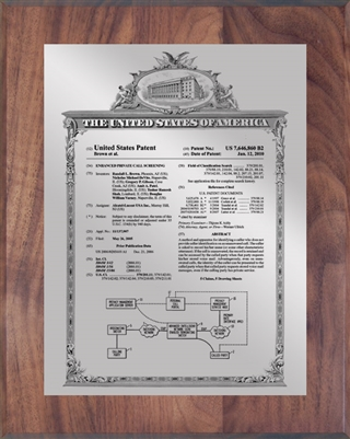 "Patent Plaques Custom Wall Hanging Vintage Patent Plaque - 8"" x 10"" Silver and Walnut."
