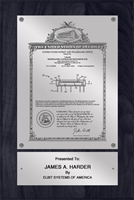 "Patent Plaques Custom Wall Hanging Vintage Patent Plaque - 8"" x 12"" Silver and Black."