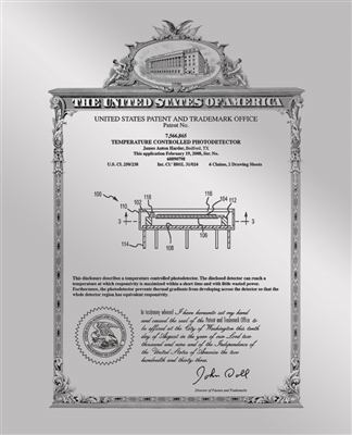 "Patent Plaques Custom Wall Hanging Vintage Metal Patent Presentation Plate - 10.5"" x 13"" Silver."