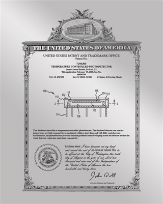 "Patent Plaques Custom Wall Hanging Vintage Metal Patent Presentation Plate - 8"" x 10"" Silver."