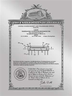 "Patent Plaques Custom Wall Hanging Vintage Metal Patent Presentation Plate - 9"" x 12"" Silver."