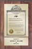 "Patent Plaques Custom Wall Hanging Vintage Trademark Plaque - 8"" x 12"" Gold and Walnut."